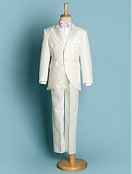 cheap -Ivory Black Polyester Ring Bearer Suit - Five-piece Suit Includes  Jacket Waist cummerbund Shirt Pants Bow Tie