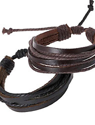 cheap -Men's Leather Bracelet Rope Twisted woven Cheap Personalized Unique Design Fashion Leather Bracelet Jewelry Black / Brown For Dailywear Daily