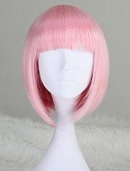 cheap -Synthetic Wig Straight Kardashian Style Bob Wig Pink Light Pink Synthetic Hair 12 inch Women's Pink Wig Short Medium Length
