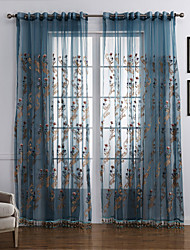 cheap -Ready Made Sheer Sheer Curtains Shades One Panel  Embroidery / Bedroom