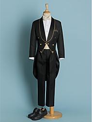 cheap -Ivory Black Polyester Ring Bearer Suit - Five-piece Suit Includes  Jacket Pants Waist cummerbund Shirt Bow Tie