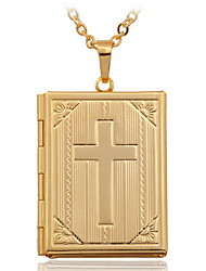 cheap -Women's Pendant Necklace Lockets Necklace Cross Ladies Fashion Christ 18K Gold Plated Copper Gold Plated Necklace Jewelry For Wedding
