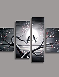 cheap -Hand-Painted Oil Painting Bird in the Tree Modern Canvas With Stretched Frame Four Panels