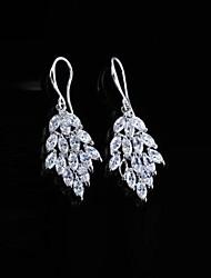 Недорогие -Благородный моды шаблон лист полностью Diamante серьги