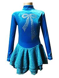 cheap -Figure Skating Dress Women's Girls' Ice Skating Dress Velvet High Elasticity Training Competition Skating Wear Handmade Bowknot Long Sleeve Ice Skating Figure Skating