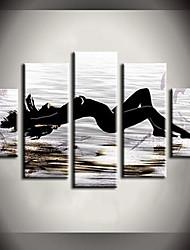 Недорогие -ручная роспись маслом солнце пляж красота люди абстрактные картины с натянутой рамой пять панелей