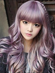 cheap -Synthetic Wig Wavy Style With Bangs Wig Purple Synthetic Hair 20 inch Women's Purple Wig Long