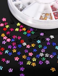cheap -600pcs 12colours flower shape acrylic rhinestones wheel nail art decoration