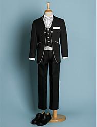 cheap -Black / Ivory Polyester Ring Bearer Suit - 6 Pieces Includes  Jacket / Waist cummerbund / Vest