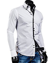 cheap -Men's Daily Work Business Cotton Slim Shirt - Solid Colored Button Down Collar Green / Long Sleeve / Spring / Fall