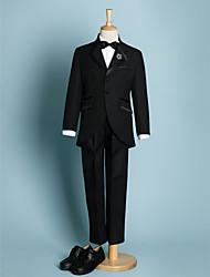 cheap -Ivory / Black Polyester Ring Bearer Suit - 5 Pieces Includes  Jacket / Waist cummerbund / Shirt