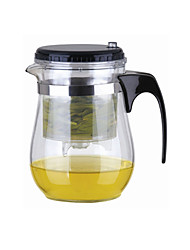 cheap -Easy Push Button Strainer Glass Tea Pot With Lock (500ml)