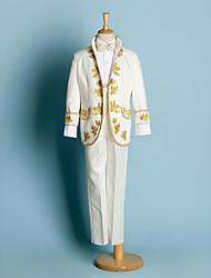 cheap -Ivory / Black Polyester Ring Bearer Suit - Four-piece Suit Includes  Jacket / Shirt / Pants