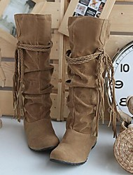 cheap -Women's Wedge Heel Ruffles / Lace-up Suede 35.56-40.64 cm / Knee High Boots Slouch Boots Fall / Winter Black / Pink / Brown