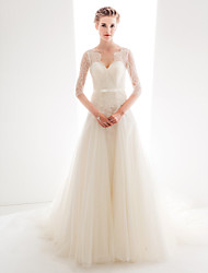 cheap -Ball Gown V Neck Chapel Train Sheer Lace 3/4 Length Sleeve Made-To-Measure Wedding Dresses with Bow(s) / Buttons / Lace 2020 / See Through