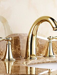 cheap -Brass Bathroom Sink Faucet,Widespread Two Handles Three Holes Bathroom Faucet with Valve and Hot/Cold Switch