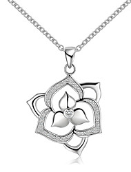 cheap -Women's Choker Necklace Pendant Necklace Pendant Flower Ladies Simple Sterling Silver Zircon Silver Silver Necklace Jewelry For Wedding Party Thank You Gift Daily Casual