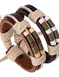cheap -Men's Leather Bracelet Layered Rope woven Personalized Vintage Inspirational Multi Layer Festival / Holiday Leather Bracelet Jewelry Black / Brown For Christmas Gifts Party Daily Casual Beach