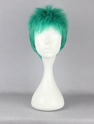 cheap -One Piece Roronoa Zoro Cosplay Wigs Men's 12 inch Heat Resistant Fiber Green Anime