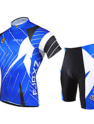 cheap -FJQXZ Men's Short Sleeve Cycling Jersey with Shorts Blue Bike Clothing Suit Breathable 3D Pad Quick Dry Ultraviolet Resistant Sports Polyester Patchwork Mountain Bike MTB Road Bike Cycling Clothing