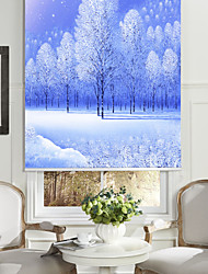 cheap -Oil Painting Style Realistic White Pine Roller Shade