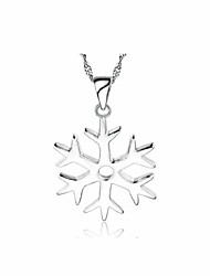 cheap -Women's Snowflake Pendant Silver Necklace Platinum Plated Silver Pendant Necklace