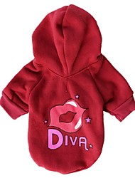 cheap -Cat Dog Hoodie Winter Dog Clothes Red Pink Costume Terylene Letter & Number XS S M L