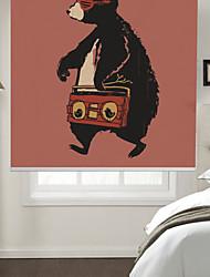cheap -Artistic Walking Music Bear Cartoon Style Roller Shade