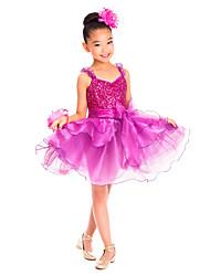 cheap -Kids' Dancewear Dresses Training Spandex Sequin / Ruffles Sleeveless Natural / Ballet / Performance / Ballroom