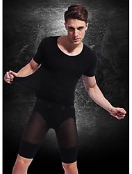 Недорогие -мужчин с коротким рукавом для похудения тела нижнего белья рубашка фирма бюст животик живот нейлон черный