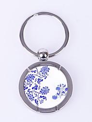 cheap -circular lotus pattern metal silver keychain toys