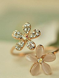 cheap -Women's Band Ring thumb ring Golden Opal Imitation Diamond Alloy Ladies Open Daily Jewelry Flower Daisy Adjustable / Rhinestone