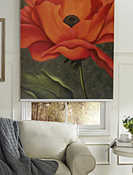 cheap -Oil Painting Style Realistic Red Flower Roller Shade