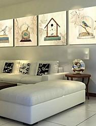 Недорогие -Отпечатки на холсте Винтаж 4 панели Горизонтальная С картинкой Декор стены Украшение дома