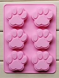 Недорогие -6 отверстий кошачьей лапки формы торт плесень желе шоколад силиконовые формы