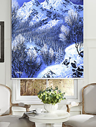 cheap -Oil Painting Style Realistic Snow Mountain & Pine Roller Shade