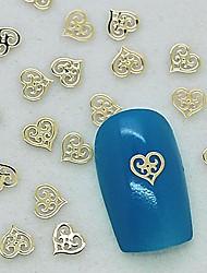 cheap -200pcs unique design hollow heart golden metal slice nail art decoration