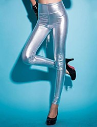 cheap -Women's Basic Legging - Solid Colored, Sporty High Waist Black Silver Blue One-Size / Skinny