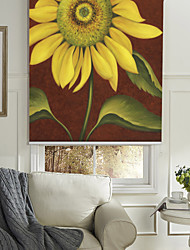 cheap -Oil Painting Style Realistic Yellow Flower Roller Shade