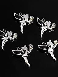 cheap -10pcs black alloy rhinestone fairy angel 3d alloy nail art decoration