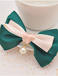 cheap -Double Ribbon Bow Pearl Pendant Top Clip