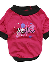 cheap -Cat Dog Shirt / T-Shirt Letter & Number Dog Clothes Breathable Pink Rose Costume Cotton XS S M L