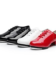 cheap -Women's Tap Shoes Ballroom Shoes Salsa Shoes Split Sole Lace-up Low Heel Black White Red Lace-up