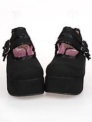 cheap -Women's Lolita Shoes Lolita Platform Shoes Lace 7 cm Black PU Leather / Polyurethane Leather Halloween Costumes