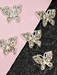 cheap -10pcs flying butterfly full crystal rhinestone 3d alloy nail art decoration
