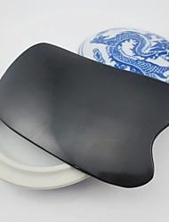 Недорогие -Традиционный акупунктура инструмент массаж Guasha доска 100% рог буйвола черного вола рога слом гуа ша терапии