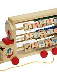 Недорогие -многофункциональный деревянный трактор с счеты стойки / часы для детской образовательной игрушки