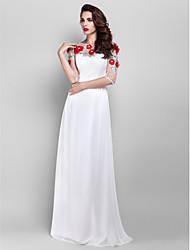 cheap -Sheath / Column Elegant Floral Prom Formal Evening Dress Illusion Neck Half Sleeve Floor Length Chiffon with Pearls Beading Appliques 2020 / Illusion Sleeve