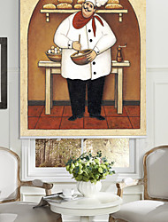 cheap -Oil Painting Style Cartoon Bread Chef Roller Shade