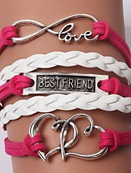 cheap -Women's Charm Bracelet Leather Bracelet Layered Friends Heart Love Personalized Unique Design Fashion Inspirational Initial Leather Bracelet Jewelry Red For Christmas Gifts Wedding Daily Casual Sports